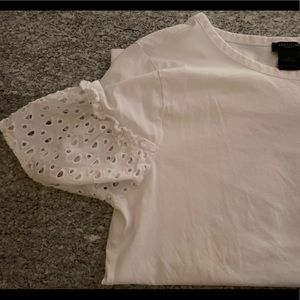 A.T. factory eyelet  sleeve cotton top size L GUC